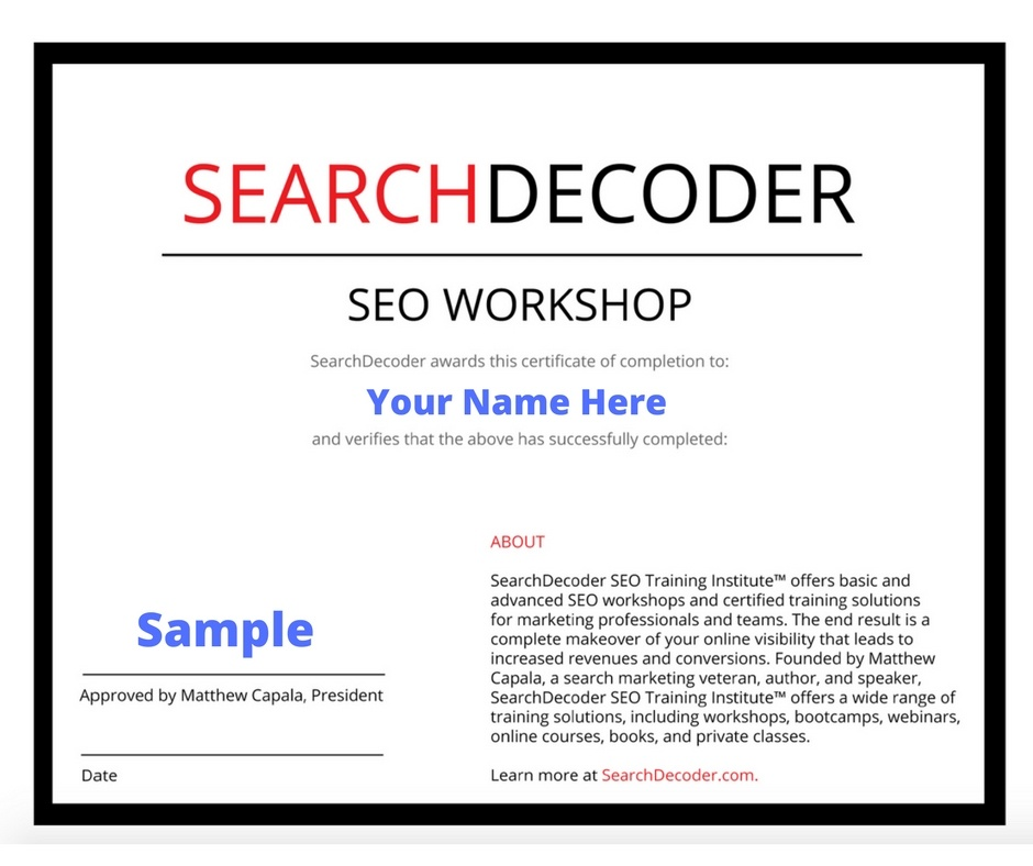 Seo bootcamp for entrepreneurs search decoder seo certification template sample maxwellsz